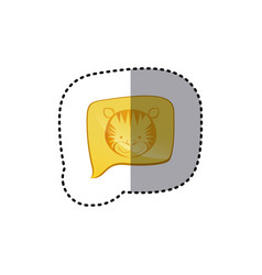 Color sticker with tiger face in square speech vector