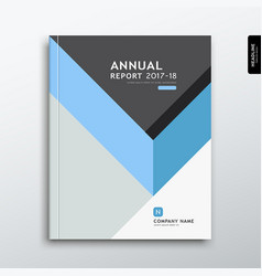 Cover annual report blue and gray triangle design vector