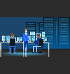 Data center engineer workplace flat vector