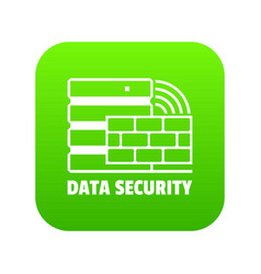 data security icon green vector image