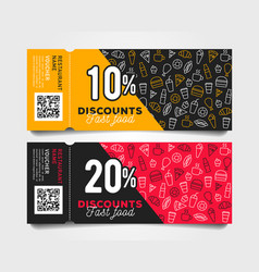 discount tear-off coupons with barcode fast food vector image