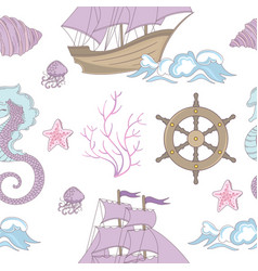 dream ship ocean sea vacation seamless pattern vector image