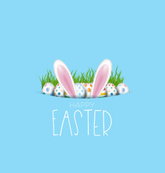 easter background with eggs and bunny ears vector image