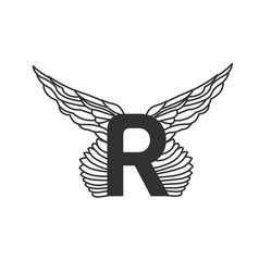 elegant dynamic letter r with wings linear design vector image