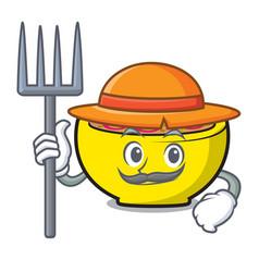 Farmer soup union character cartoon vector