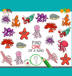 Find one of a kind game with sea life animals vector