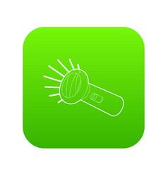flashlight icon green vector image
