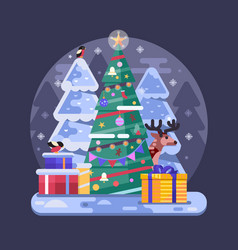 flat decorated christmas tree with holiday gifts vector image