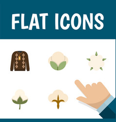 Flat icon fiber set of fiber pullover fluffy and vector