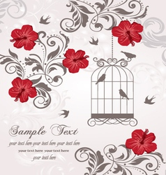 Floral invitation card with birds vector