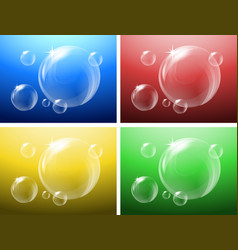 four backgrounds with bubbles floating vector image