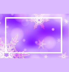 Frame template design with snowflakes on purple vector