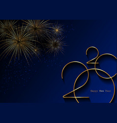 golden 2020 new year logo holiday greeting card vector image
