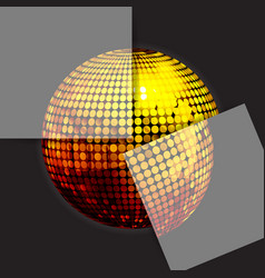 golden disco ball on black with two panels vector image