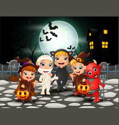 happy halloween kids in full moon background vector image