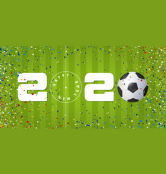 happy new year 2020 banner with soccer ball vector image