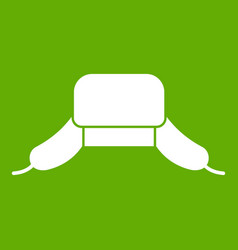 Hat with ear flaps icon green vector