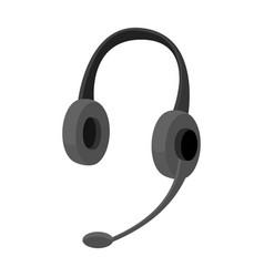 Headphones icon in monochrome style isolated on vector