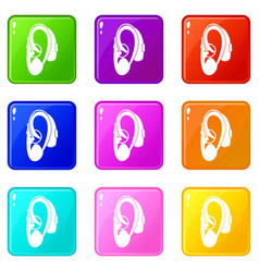 Hearing aid icons 9 set vector