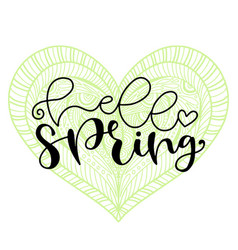 hello spring handwritting typography icon vector image