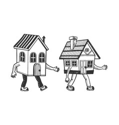 houses walking on feet sketch engraving vector image