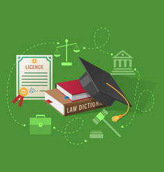 lawyers licence books on law and academic hat vector image vector image