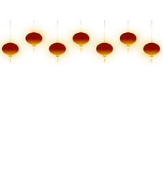 lighting red lanterns on white background vector image