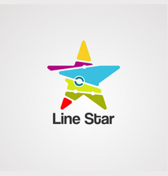 line star logo icon element and template vector image