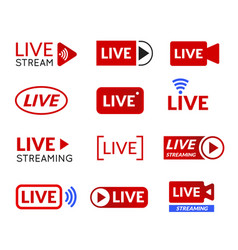live stream icon set online broadcasting symbol vector image