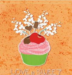 Love is sweet like cupcake vector