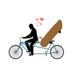 Lover skateboarding skateboard and guy on bicycle vector