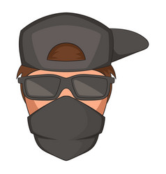 Man in black glasses and scarf on his face icon vector