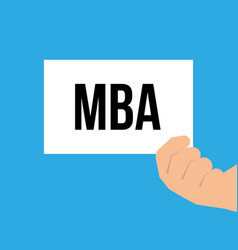 man showing paper mba text vector image