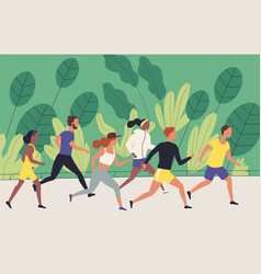 men and women dressed in sportswear jogging or vector image
