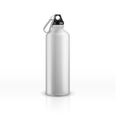 metal water bottle white realistic reusable drink vector image