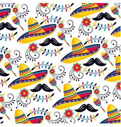 Mexican hat with maracas and mustache background vector