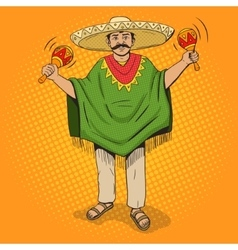 Mexican with maracas pop art style vector