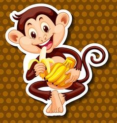 Monkey eating banana alone vector image