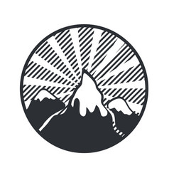 mountain round label badge adventure retro vector image