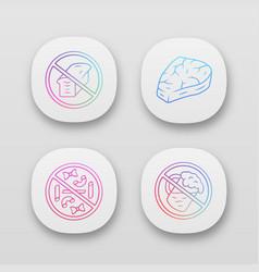 No gluten eating app icons set zero carbs vector