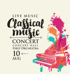 Poster classical music concert with grand piano vector