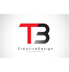 Red and black tb t b letter logo design creative vector