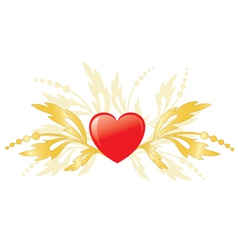 red heart with golden plants as element for design vector image
