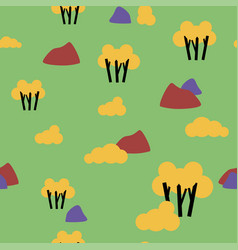 retro autumn nature forest pattern vector image