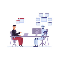 robot versus human at work multitasking vector image
