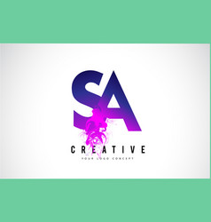 Sa s a purple letter logo design with liquid vector