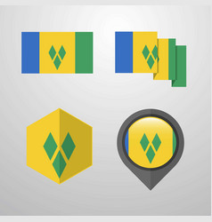 saint vincent and grenadines flag design set vector image