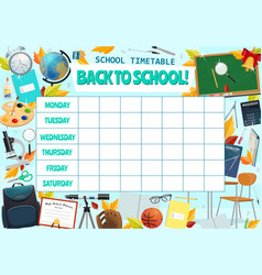 School lesson weekly timetable design vector