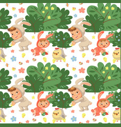 Seamless pattern girl smile playing with chickens vector