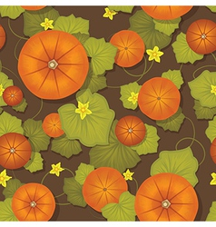 Seamless pattern Pumpkins with leaves vector image